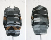 Vintage jacket coat Navajo pattern Cardigan cozy sweater wood walk nature wool unisex men women