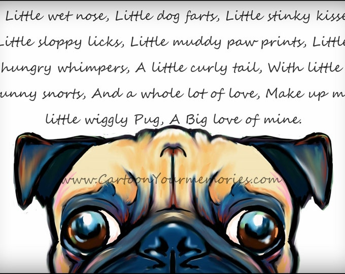 My little wiggly Pug  art print