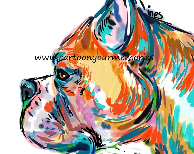 Boxer profile art print