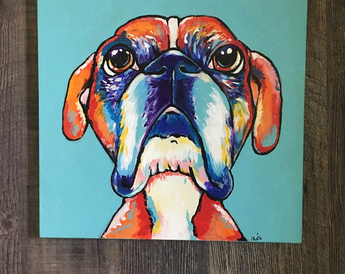 Wood boxer painting