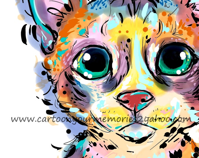 colorful cat  art print