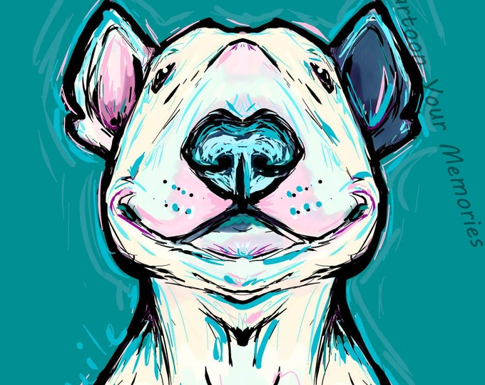 Smiling Bull Terrier art print