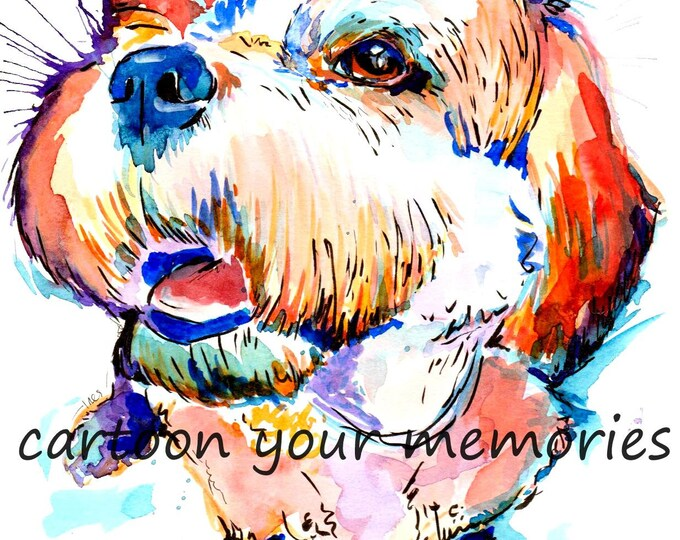 Cavichon watercolor print