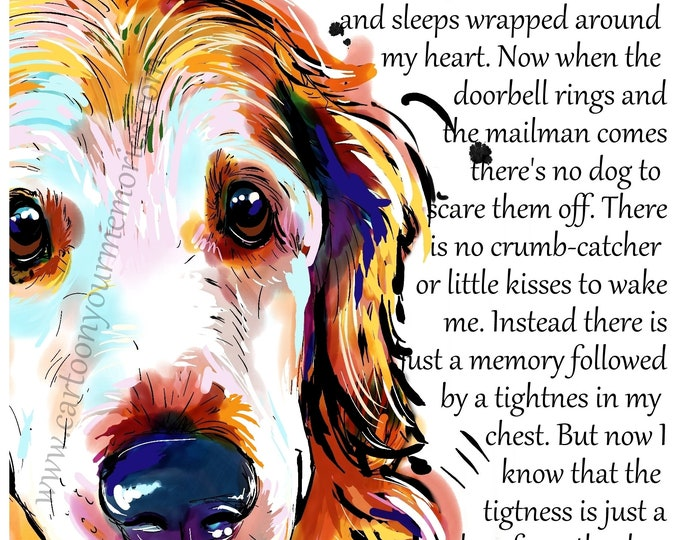 The dog wrapped around my heart  Golden Retriever art print