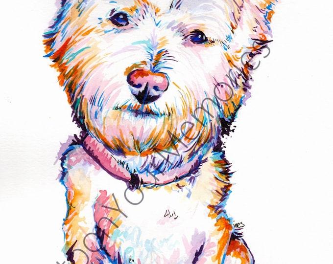 Westie watercolor print