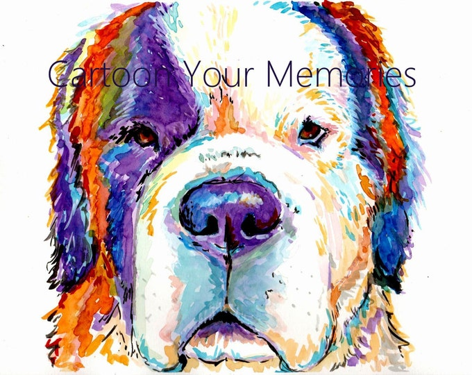 St. Bernard watercolor print