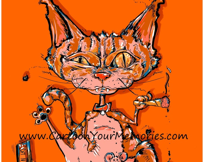 Crazy cat  art print
