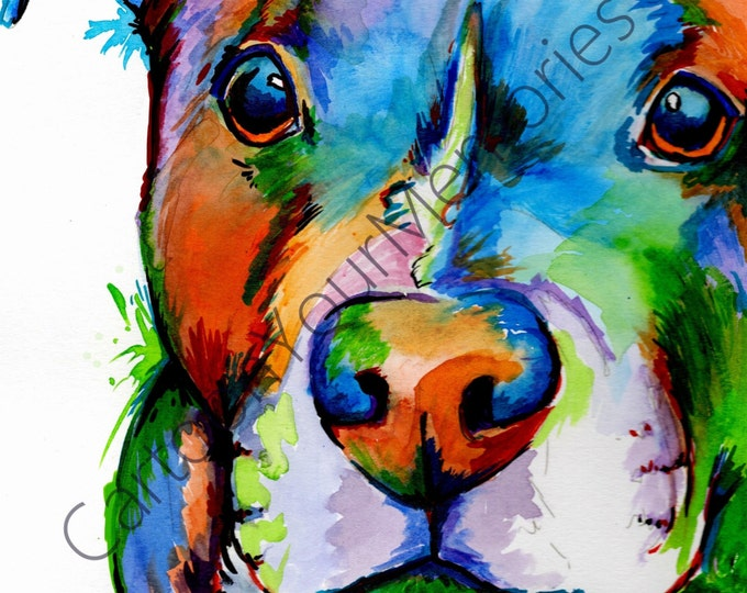 Blue Pittie watercolor print