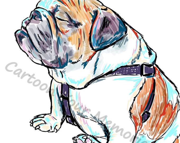 Sleepy english bulldog print