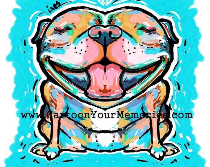 Fat and Happy Pit bull art print