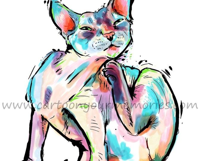 Colorful Cat Art Print
