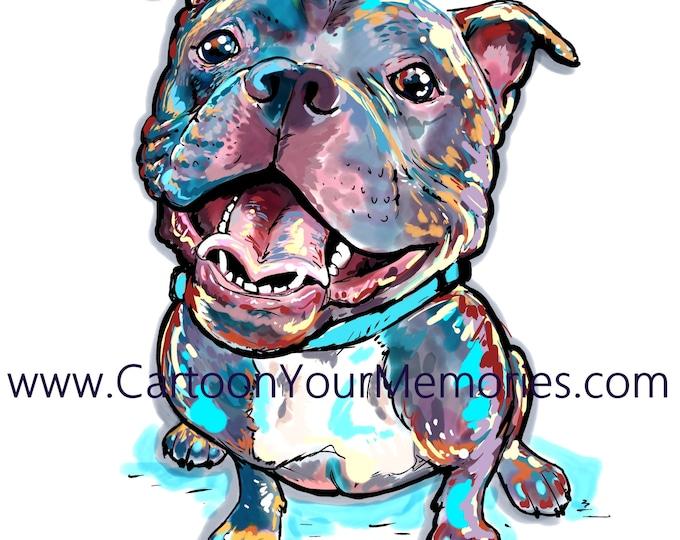 Fat and Happy Pit bull art print