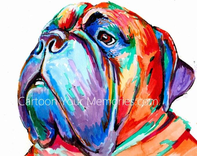 Mastiff watercolor print