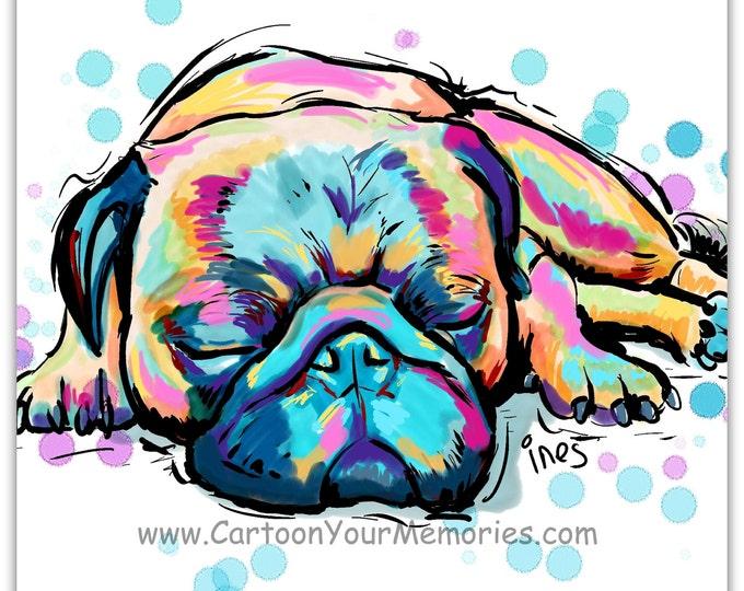 Sleeping Pug art print