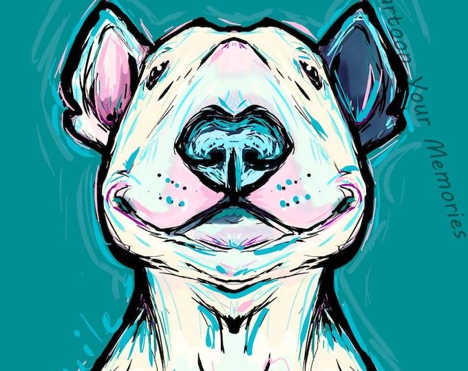 Smiling Bull Terrier art print