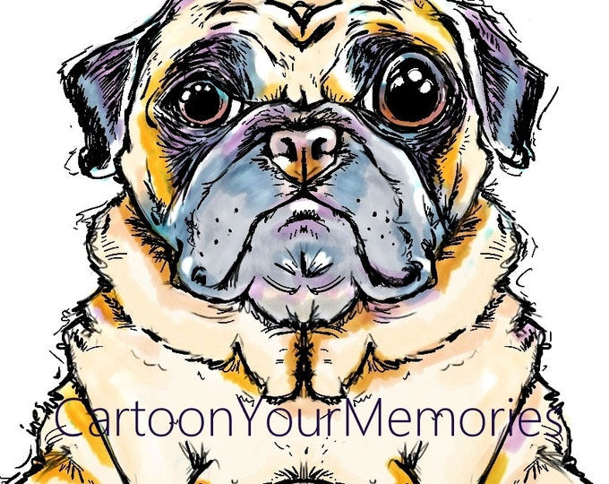 Pug doodle art print