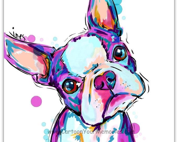 My little Boston Terrier  art print