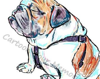 Sleepy english bulldog print