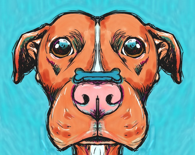 Stay... stay... Good Boy Pit bull art
