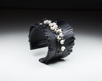 Pearl And Leather Bracelet. Beaded Bracelet. Leather Stripes Cuff. Women's Bracelet. Handmade Cuff Bracelet. Black Cuff.