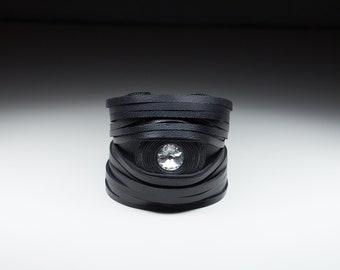Black Leather Bracelet. Crystal Bracelet. Black Stripes Cuff. Leather Stripes. Women's Bracelet. Leather Accessories. Handcuff. Big Crystal.
