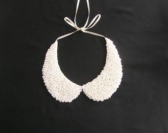 White peter pan collar necklace, peter pan collar, collar necklace, wedding necklace, bridal pearl jewelry, detachable collar, Nuray