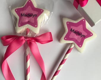 Customizable Princess Star Wand. Edible Party Favor. Marshmallow Pop. Pink Candy. Cinderella Crown. Candy Buffet. Edible Guest Favors