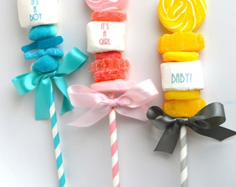 Baby Shower Favors. Lollipop. Marshmallow Pops. Pink or Blue. Boy or Girl. Gender Neutral Reveal. Custom Candy Favors. He or She Party Decor