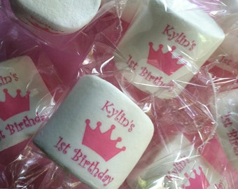 Princess Party Favor | Personalized Marshmallow | Candy Buffet | Pink Crown | Favor for a Girls Party | Custom Candy | Guest Favors