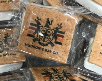 Branded S'more. Branded Graham Cracker S'more Kit. Business Gift Idea. Full Color Printing. Travel Gifts. Camping. Logo. Hospitality. Treats