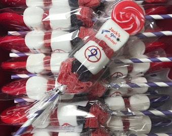 Laser Tag themed Candy Cabob children's boy birthday party favor skewer edible lollipop marshmallow pop Truck Party Video Games