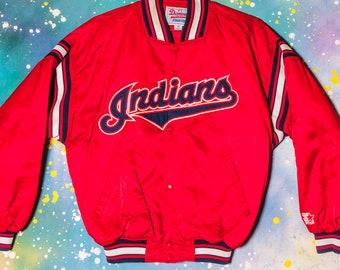 Vintage Majestätisch Cleveland Indians Windjacke Größe Jugendliche L Mlb Kinder Baseball & Softball