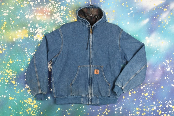 Vintage Carhartt Denim Hooded Jacket (Lined) - XL