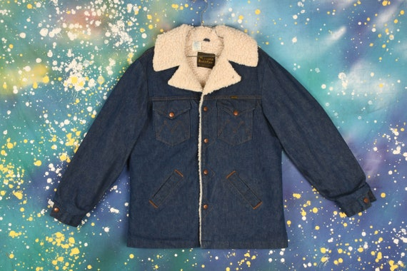 vintage 70s MAVERICK RANCH Denim Sherpa Long Coat