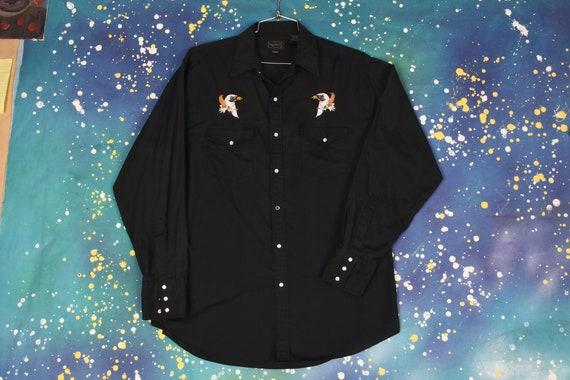 vintage black BALD EAGLE embroidered Western Cowbo