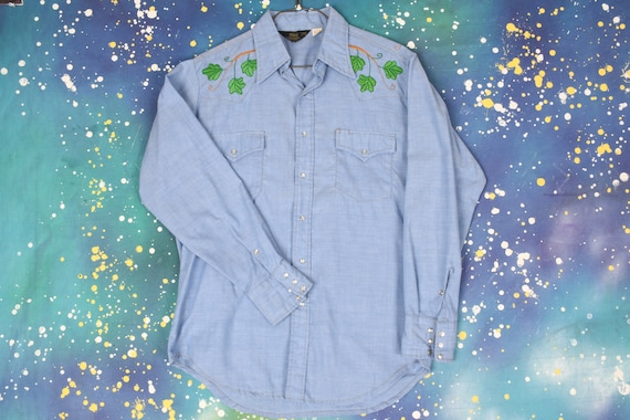 70s vintage embroidered TAZ BOWLING Cowboy Shirt