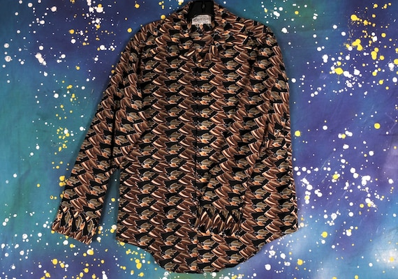 Groovy 70s Polyster Disco Button Down Shirt