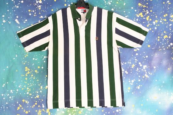 90s vintage TOMMY HILFIGER vertical stripe Polo Sh
