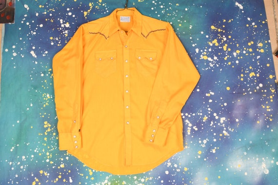 70s style vintage YELLOW Rockmount Ranch Wear West