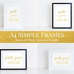A4 frames mockup bundle, black and white frames, horizontal & vertical set, clean, simple, styled stock photography, print mockup (MOC044)