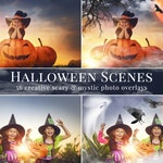 "Halloween photo overlays ""Halloween Scenes"", scary & mystic creative photo overlays for Photoshop, actions for Photographers, fall minis"