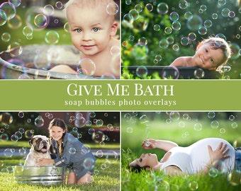 "Bubbles photo overlays ""Give Me Bath"", dreamy soap bubbles for Photoshop, summer overlays for Photography"