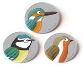 Set of 3 bird pin badges...