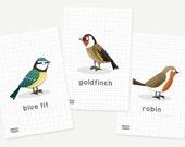Mini garden bird prints -...