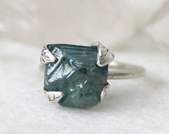 zircon ring, recycled silver, leaf ring, statement ring gifts for her, December birthstone