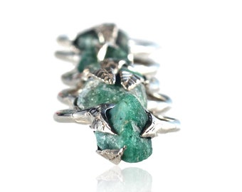 emerald ring, raw emerald, sterling silver, silver ring, raw emerald ring, recycled silver, leaf ring, statement ring, may birthstone