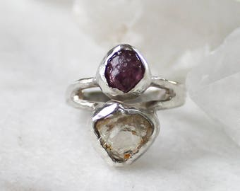 sunstone ring, recycled silver, ruby ring, statement ring, fall fashion, gifts for her, raw ruby, oregon sunstone