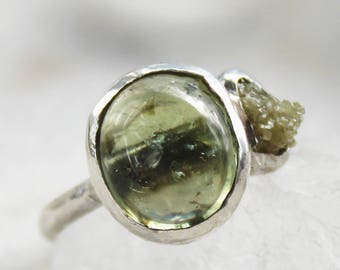 tourmaline ring, green tourmaline, diamond ring, yellow diamond, raw diamond, sterling silver, recycled silver, organic jewelry