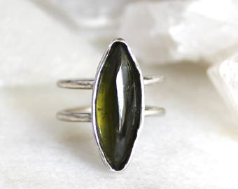 tourmaline ring, green tourmaline, double band, recycled silver, sterling silver, silver ring, hand carved