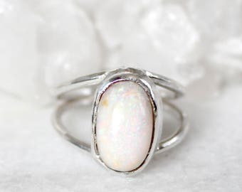 opal ring, fire opal ring, sterling silver, recycled silver, raw gemstone jewelry, stacking ring, fire opal